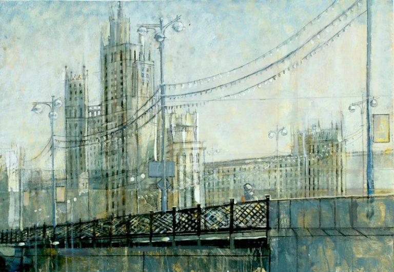 cityscape acrylic painting