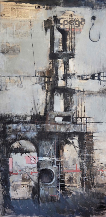 Urban landscape. Industrial. (large format) Oil painting Canvas