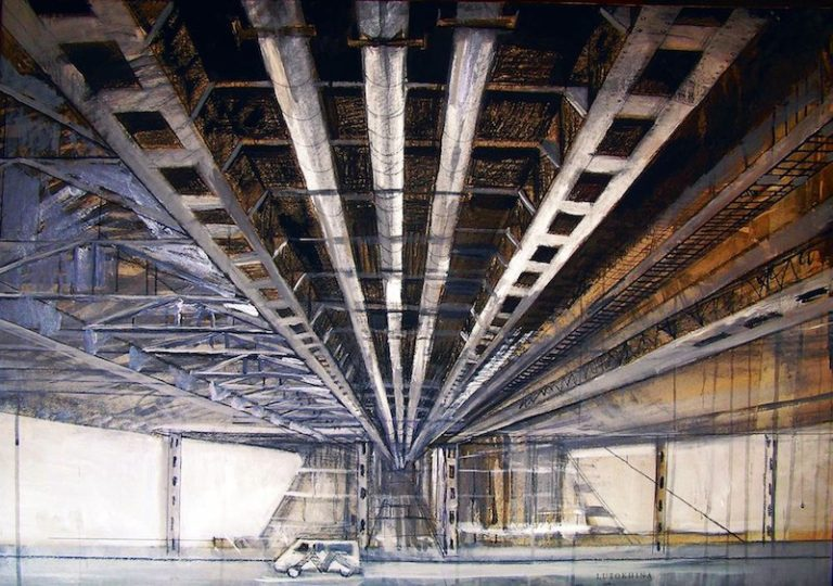 Under the bridge. Acrylic painting on Paper by Ekaterina Lutokhina
