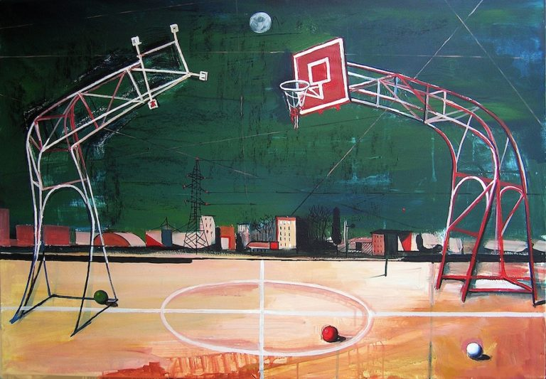 Basketball with the moon, Acrylic painting, artwork