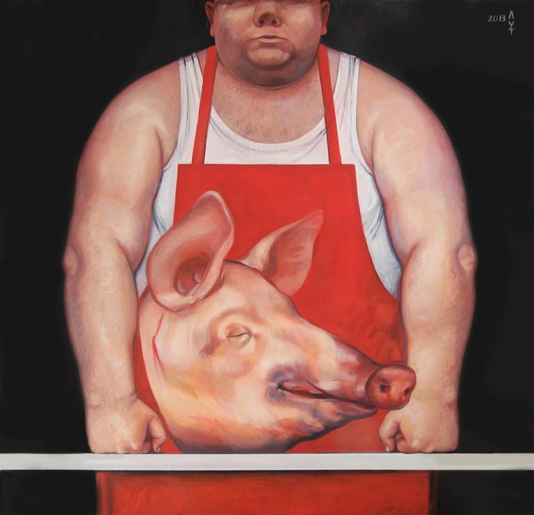oil painting on canvas butcher, fine art by Lutokhina, Лутохина екатерина