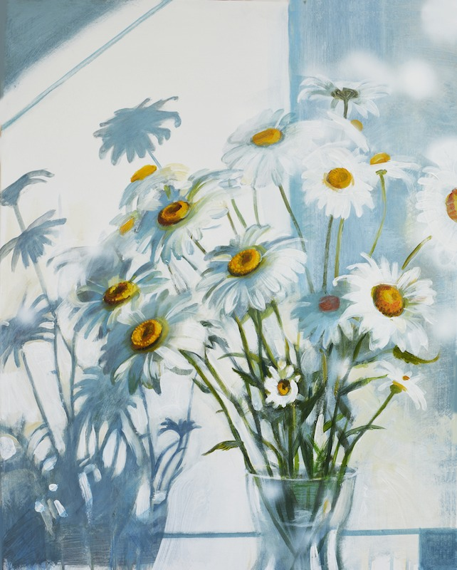 Chamomile and sunlight flowers Acrylic painting on Paper