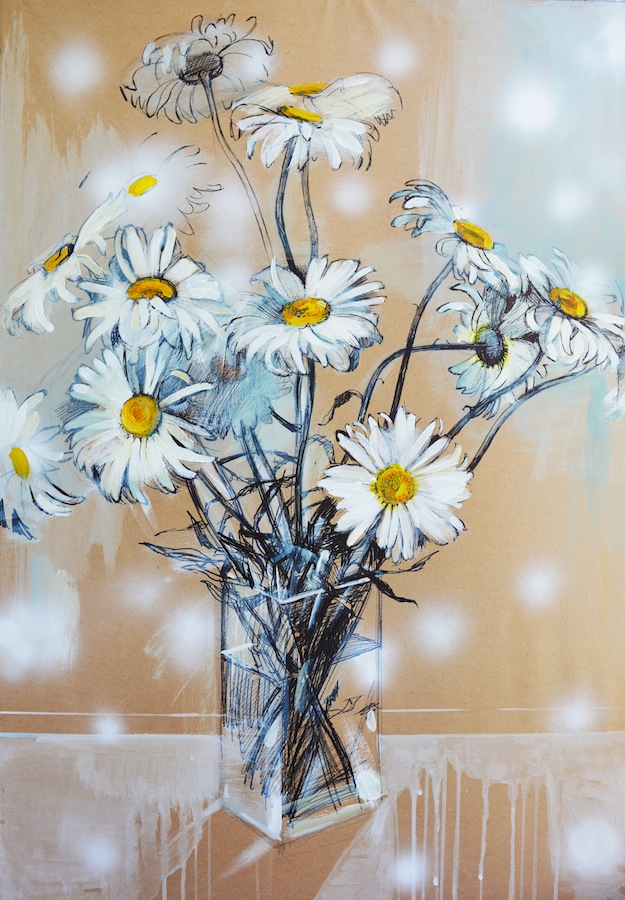 Chamomile flowers Acrylic painting on Paper