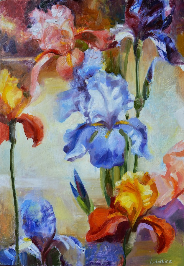 Floral painting Irises Flowers Colorful irises Oil painting