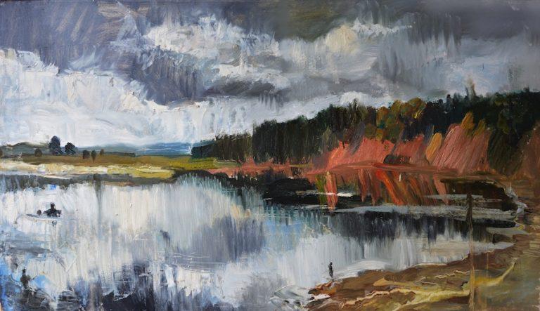 landscape oil river clouds