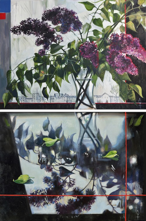 Lilac. Flowers. (Lilac - reflection). Oil painting