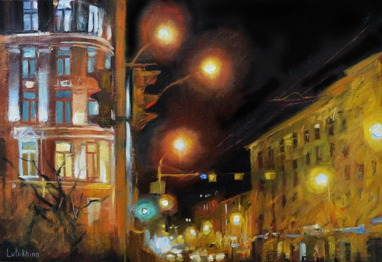 Night cityscape Oil painting