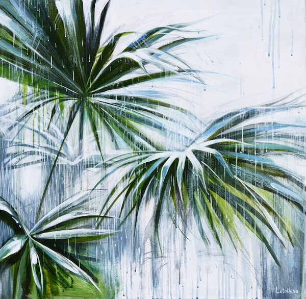 PALM in rain Acrylic painting on Canvas