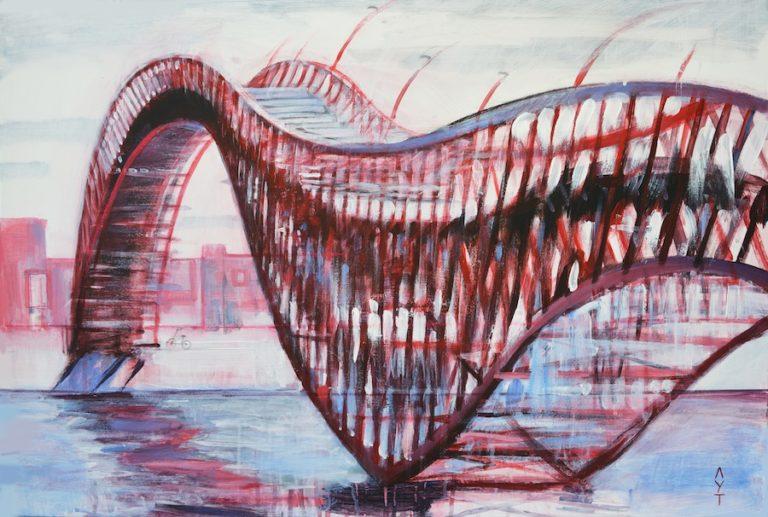 Red Bridge. Python bridge. Amsterdam Acrylic painting