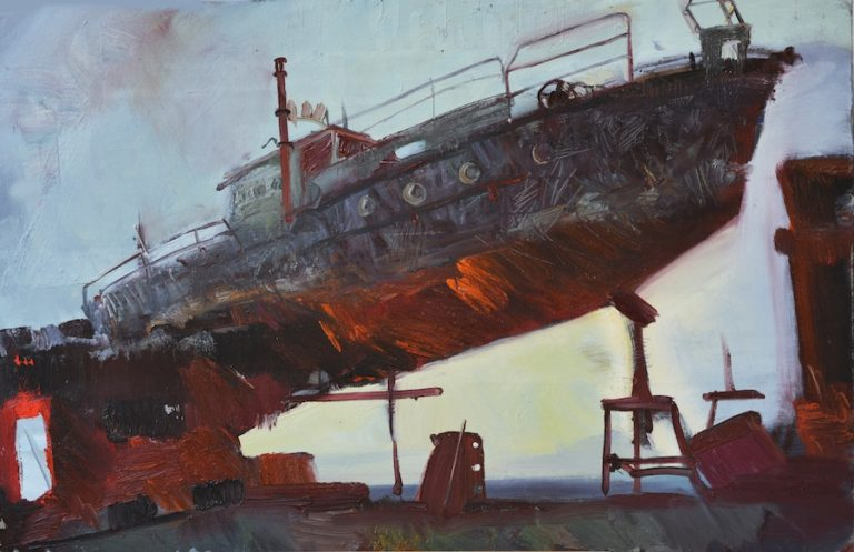 Abandoned ship Oil painting