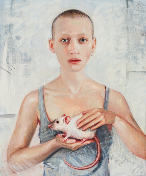 oil portrait girl with rat
