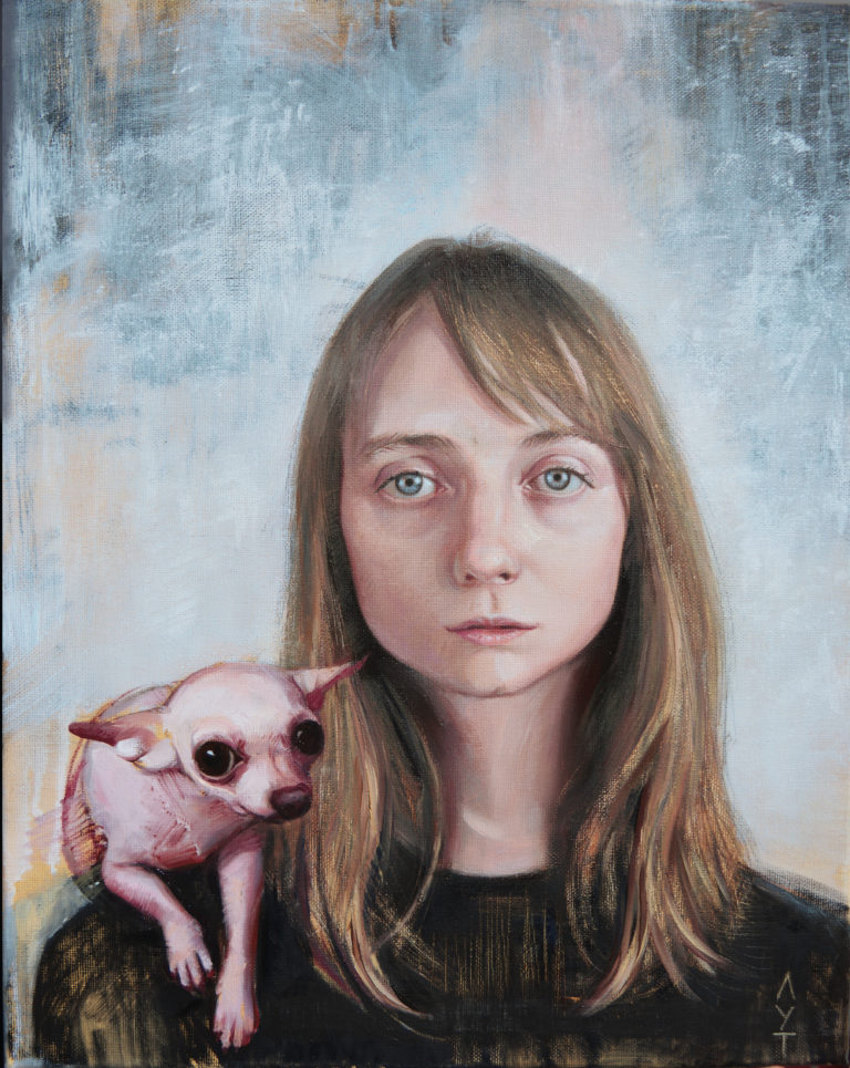 """Portrait girl with a dog oil on canvas artwork"